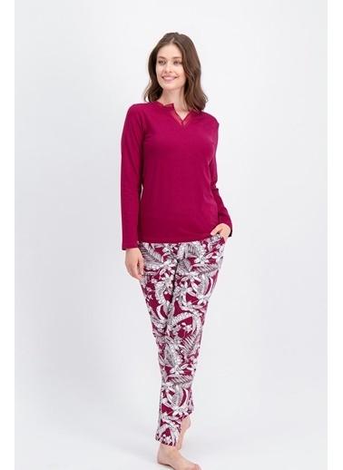 Arnetta Arnetta Bouquet Açık Bordo Kadın Pijama Takımı Kırmızı
